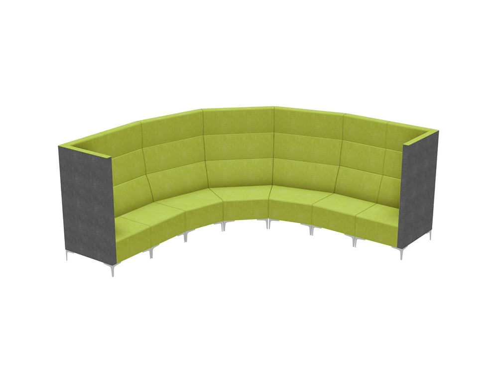 Huddle Modular Circle High Seating Pod With Grey and Green Finish