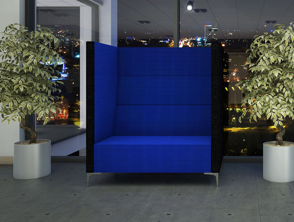 Huddle Modular High Seating Pod with Chrome Feet and Deep Foamed Blue Back