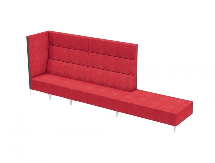Huddle Modular High Seating with Chrome Feet and Red Finish