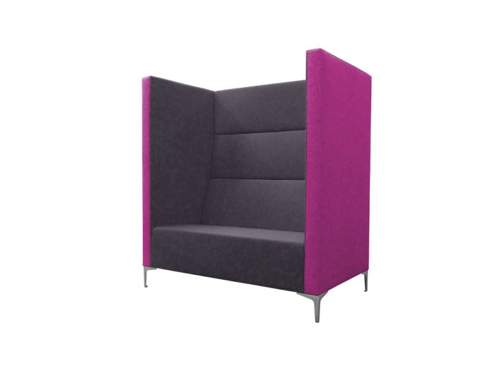 Huddle Modular Rectangular High Seating with Black Feet and Purple Finish