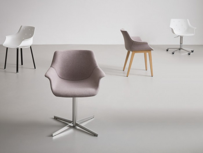 Gaber More Upholstered Armchair L with Chrome Foot and Grey Finish