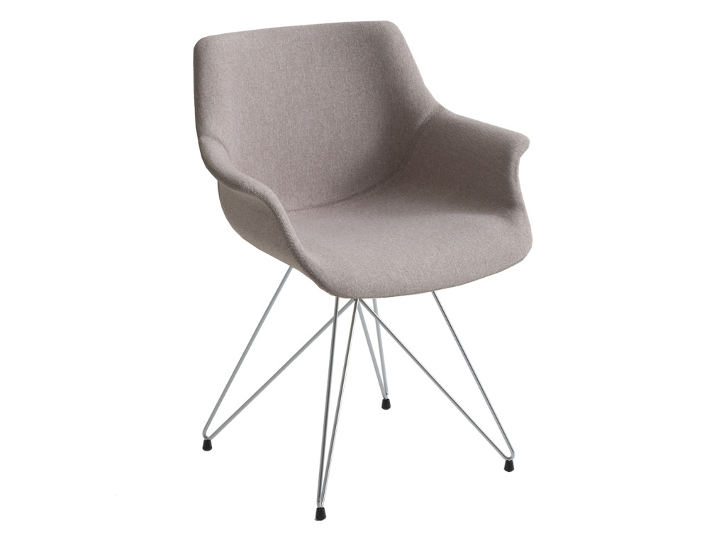 Gaber More Upholstered Armchair TC Beige Finish with Chrome Legs