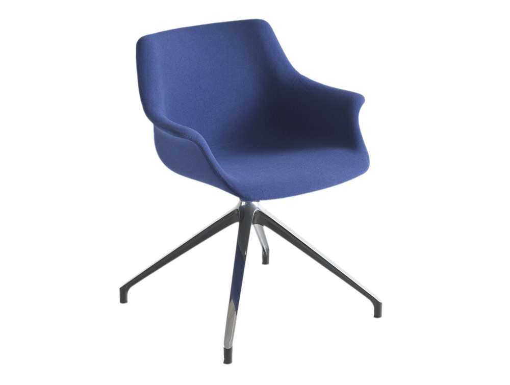 Gaber More Upholstered Armchair U with Chrome Four Star Legs and Blue Finish