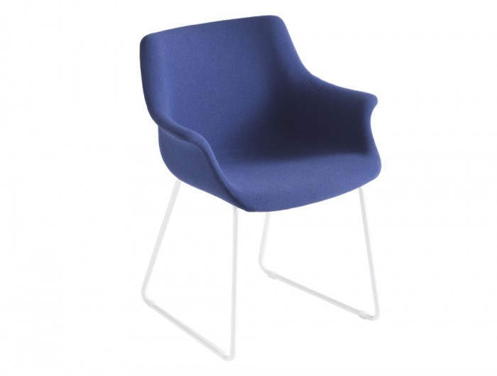 Gaber More Upholstered Armchair ST with White Legs and Blue Finish
