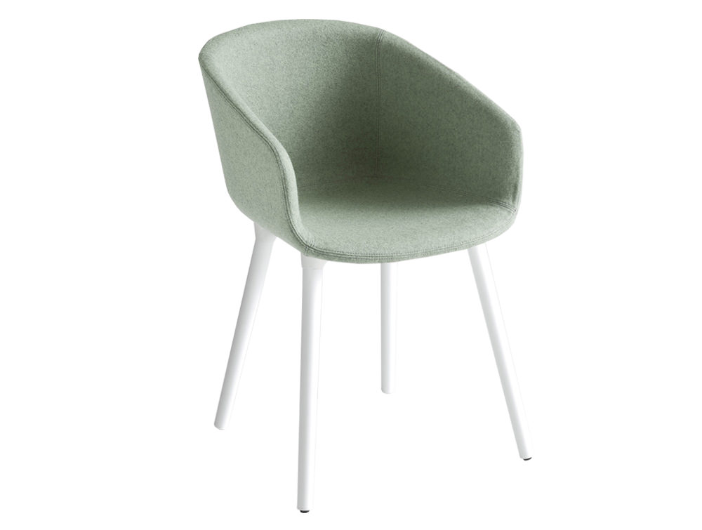 Gaber Basket Upholstered Armchair BP with White Legs and Light Grey Finish