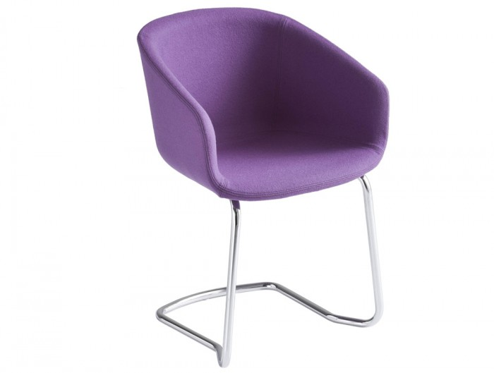 Gaber Basket Upholstered Armchair CTL with Purple Upholstered Finish and Chrome Legs