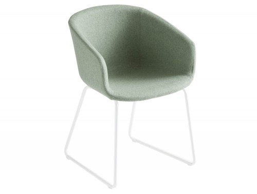 Gaber Basket Upholstered Armchair ST with White Legs and Green Finish
