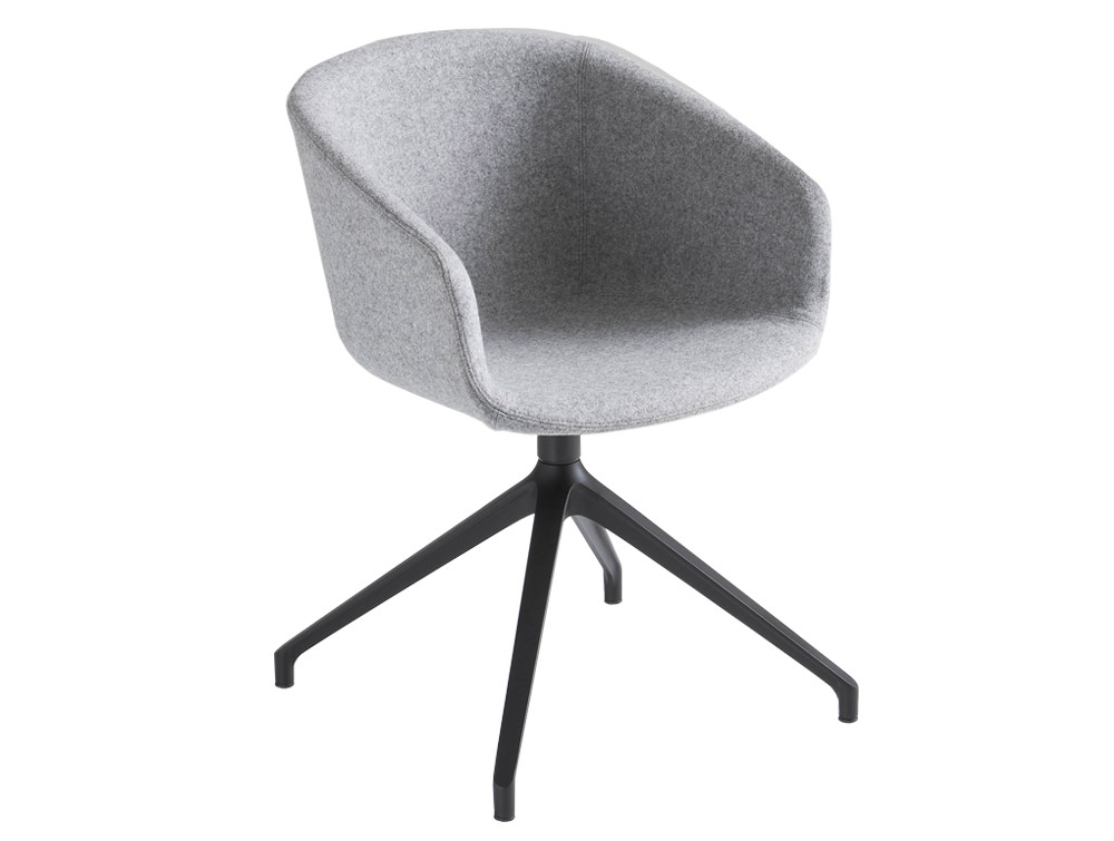 Gaber Basket Upholstered Armchair U with Black Four Star Legs and Grey Finish