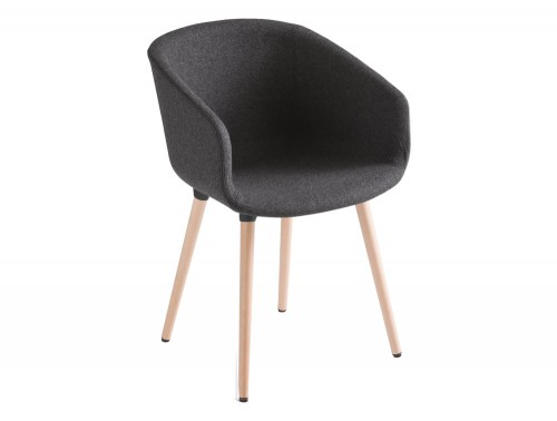 Gaber Basket Upholstered Armchair with Dark Finish and Wooden Legs