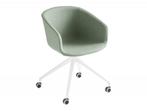 Gaber Basket Upholstered Armchair with Green Finish and Castor Wheels