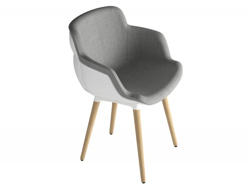 Gaber Choppy Sleek Upholstered Armchair BL with White Back Grey Finish and Wooden Legs