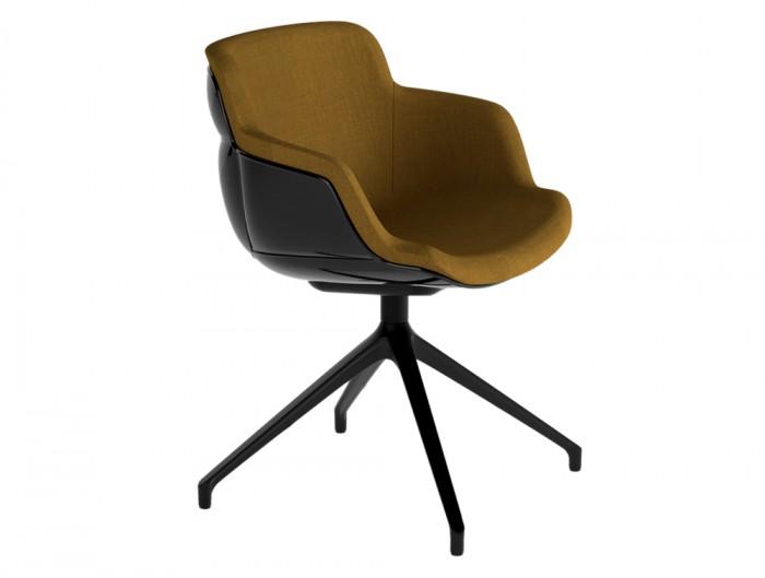 Gaber Choppy Sleek Upholstered Armchair U with Beige Finish and Black Frame
