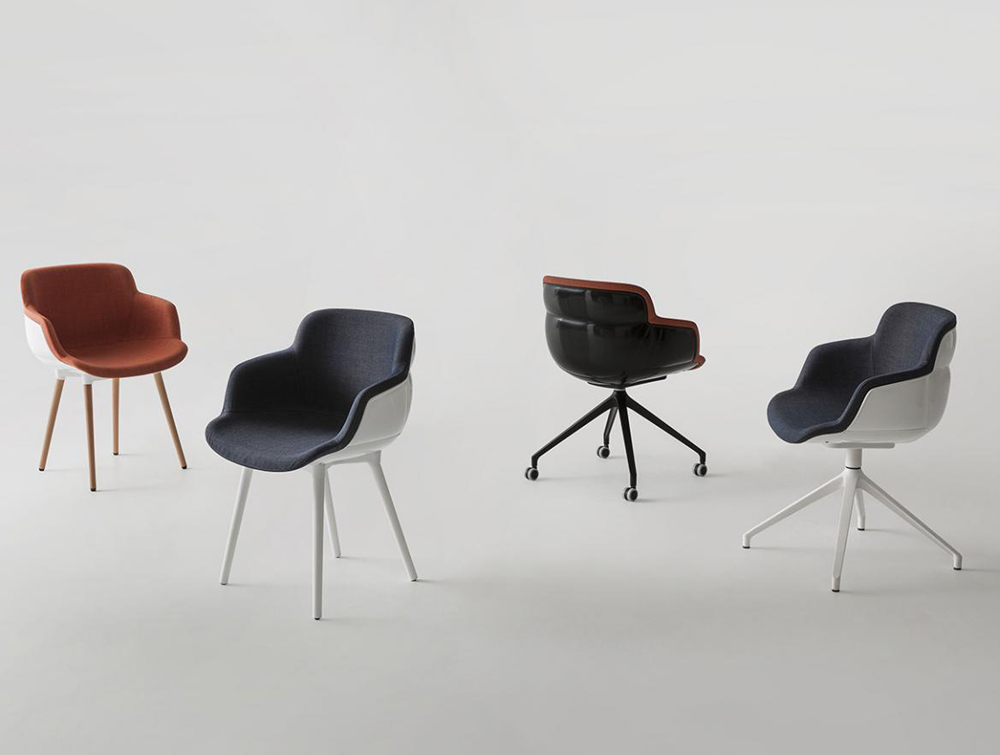 Gaber Choppy Sleek Upholstered Armchair with Red and Blue Finish and White Legs