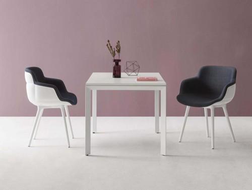 Gaber Choppy Sleek Upholstered Armchair BL with Dark Blue Finish and White Frame
