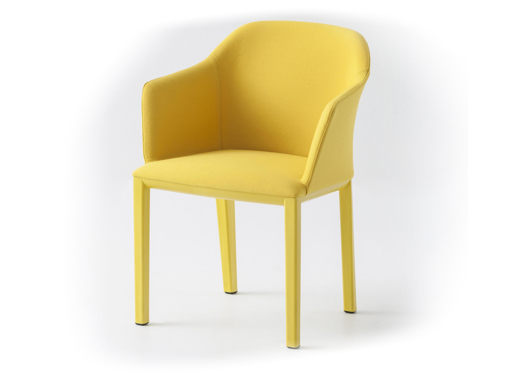 Gaber Manaa Upholstered Armchair in Bright Yellow Finish and Yellow Frame