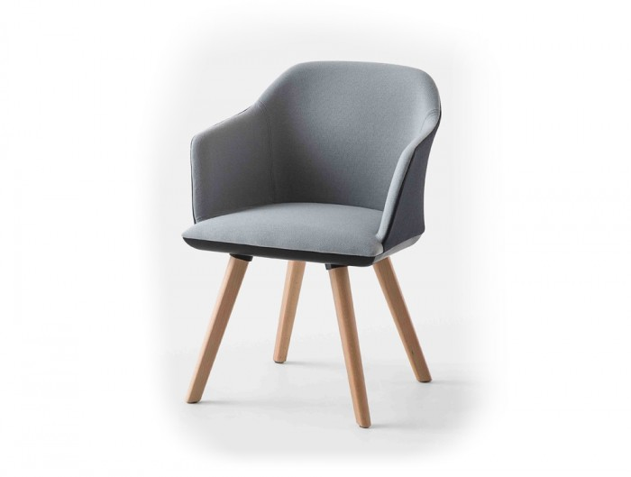 Gaber Manaa Upholstered Armchair with Grey and Black Finish and Woden Legs
