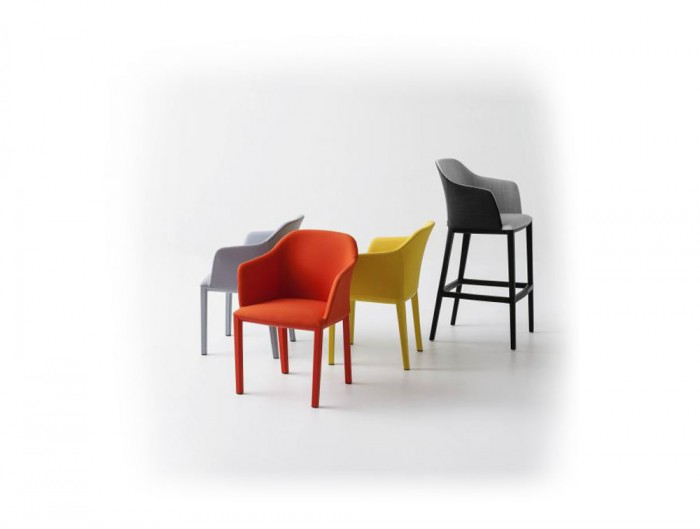 Gaber Manaa Upholstered Armchair with Red Yellow Grey Finish