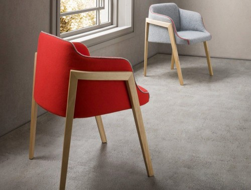 Gaber Chevalet Upholstered Armchair with Wooden Legs and Red Finish