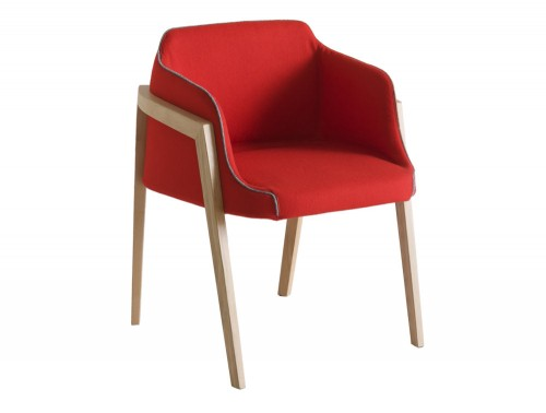 Gaber Chevalet Upholstered Armchair with Wooden Legs and Red Upholstered Finish