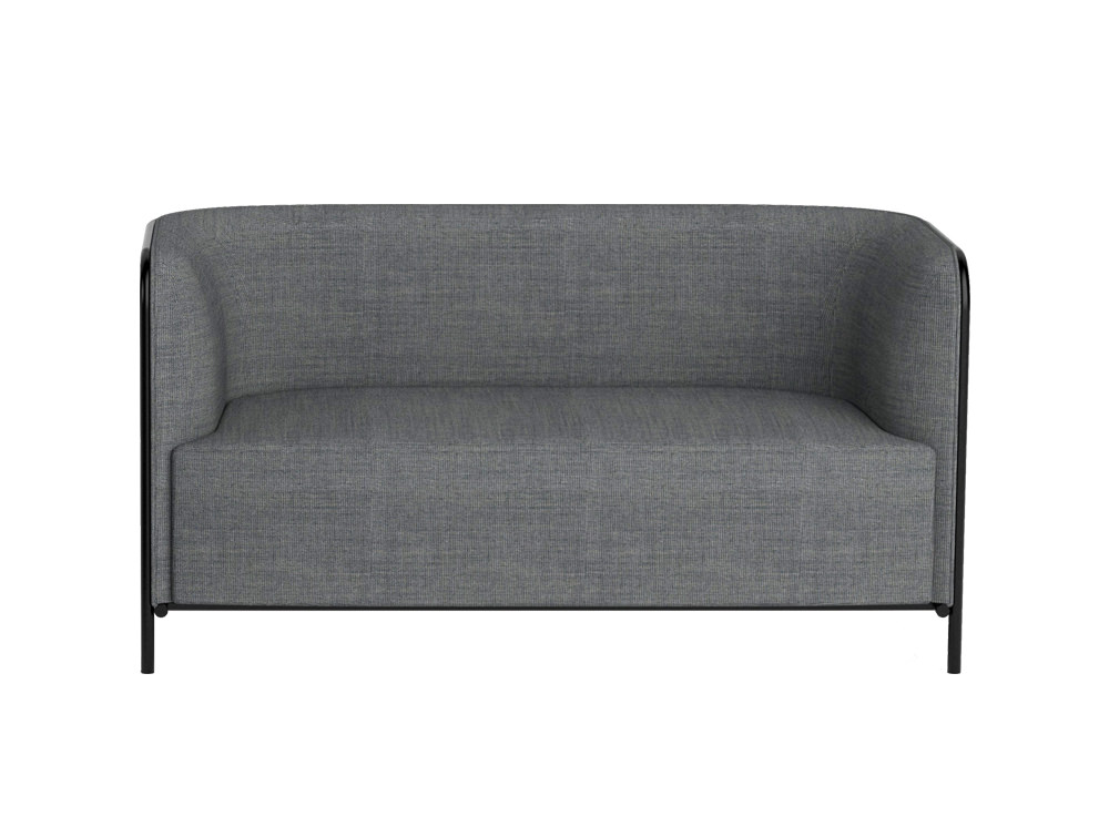 Gaber Place Upholstered 2 Seater Greay Sofa with Black Feet