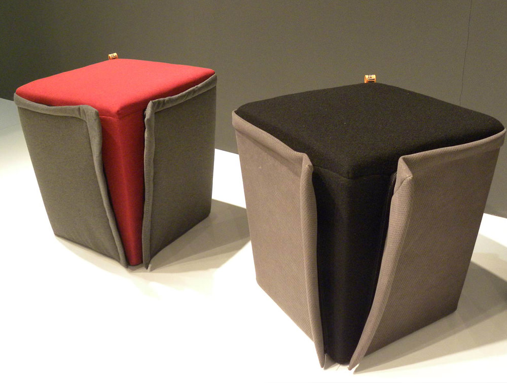 Gaber Finferlo Pouffe with Grey Finish and Red Top