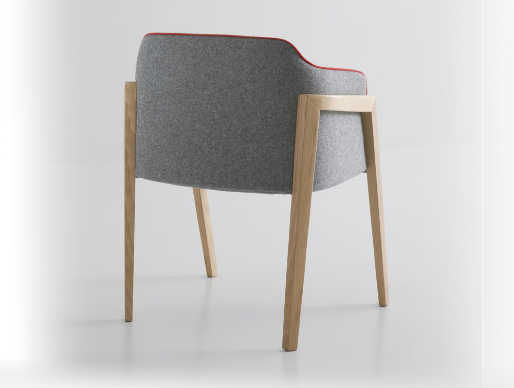Gaber Chevalet Upholstered Armchair with Grey Back and Beech Legs
