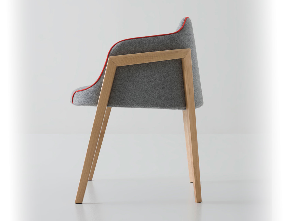 Gaber Chevalet Upholstered Armchair with Wooden Legs and Grey Upholstered Finish