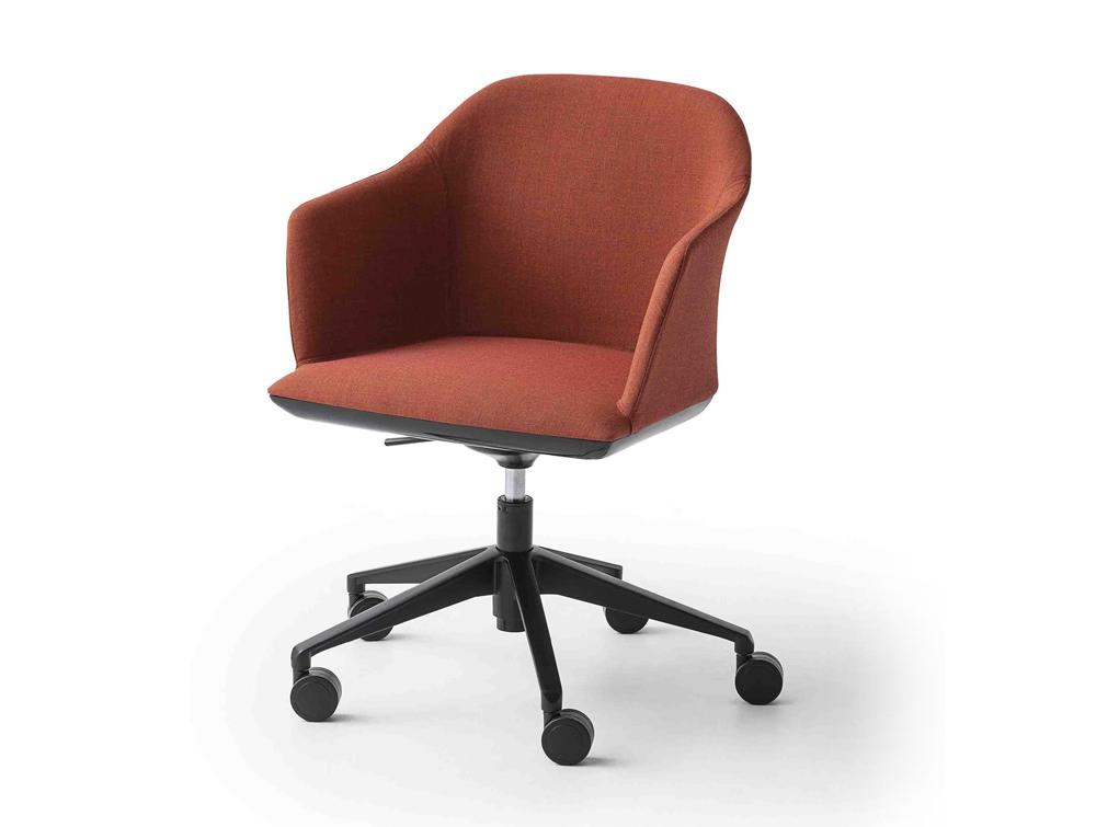 Gaber Manaa Upholstered Armchair with Red Finish and Castor Wheels