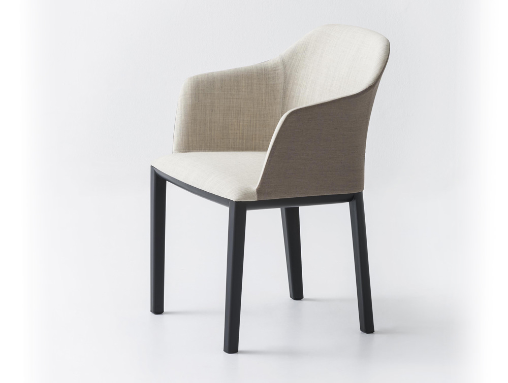 Gaber Manaa Upholstered Chair with White Inner Finish and Black Legs