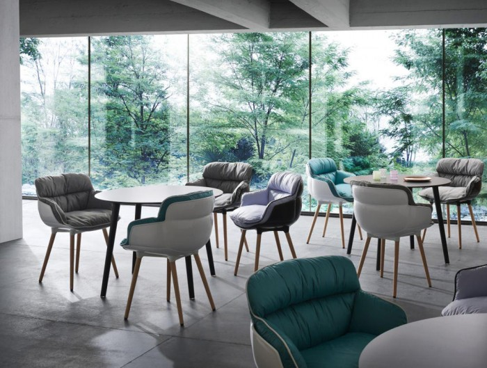 Gaber Choppy Sleek Upholstered Armchair with Coloured Cushions and Wooden Legs