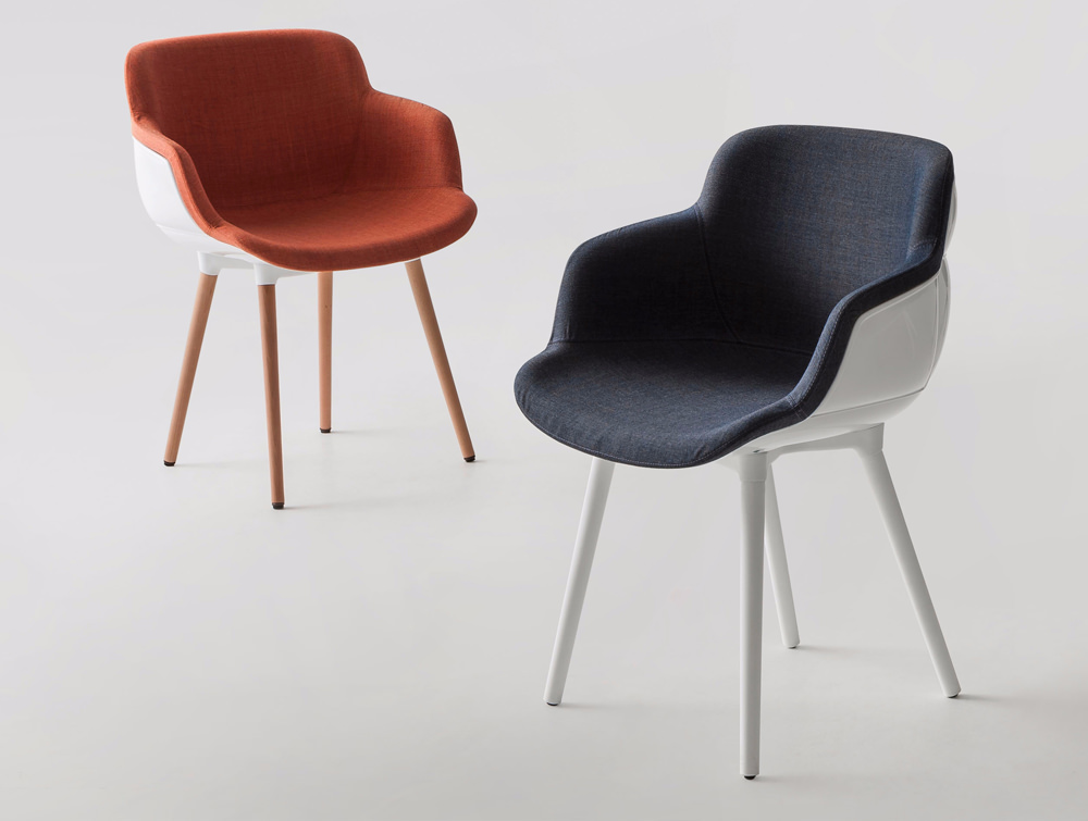 Gaber Choppy Sleek Upholstered Armchair with Red and Blue Finish