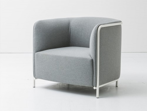 Gaber Place Upholstered Armchair with White Tubular Steel Frame and Gray Finish