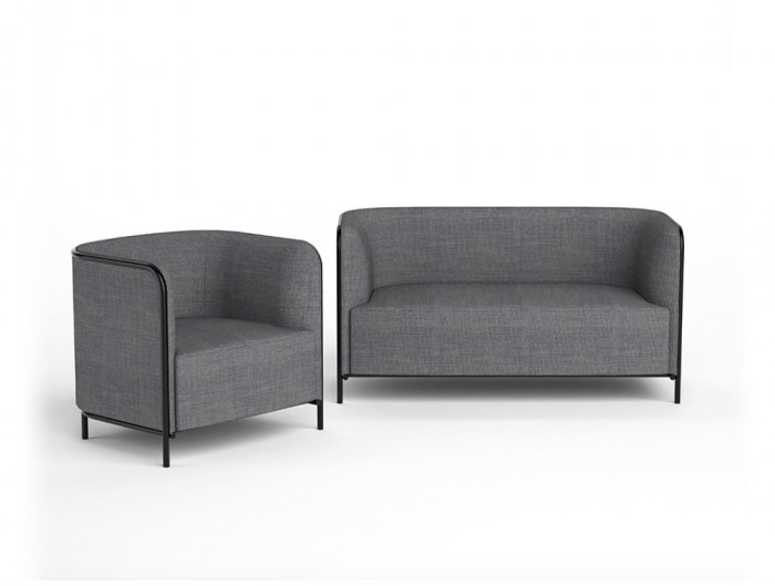 Gaber Place Upholstered Sofa with Black Tubular Steel Frame and Grey Finish