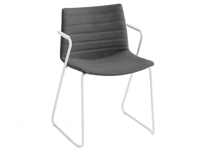Gaber Kanvas Front 2 Upholstered Chair with Grey Fabric Finish and White Legs