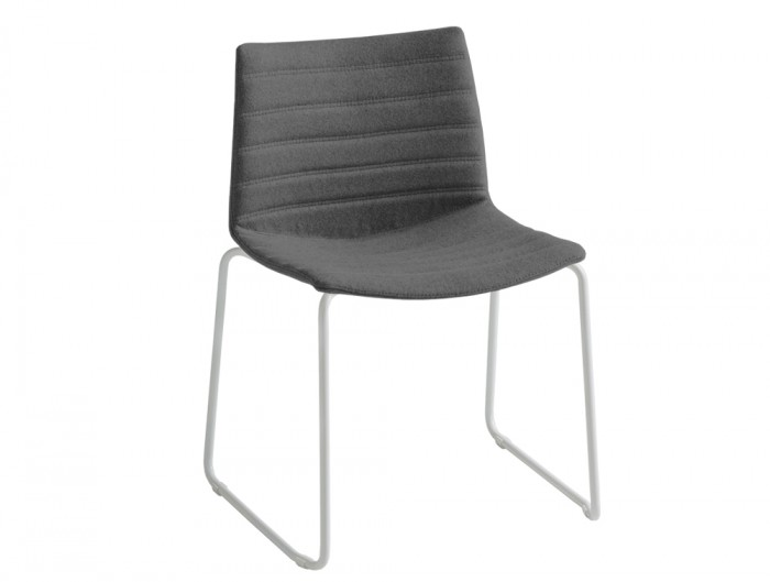 Gaber Kanvas Front 2 Upholstered Chair with Grey Finish and White Legs