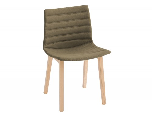 Gaber Kanvas Front 2 Upholstered Chair with Wodden legs and Green Finish