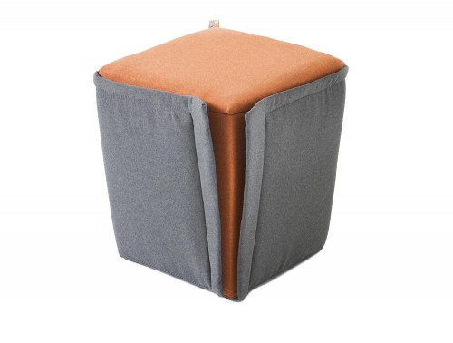 Gaber Finferlo Pouffe with Exterior Upholstery Grey Cover and Central Orange Cushion