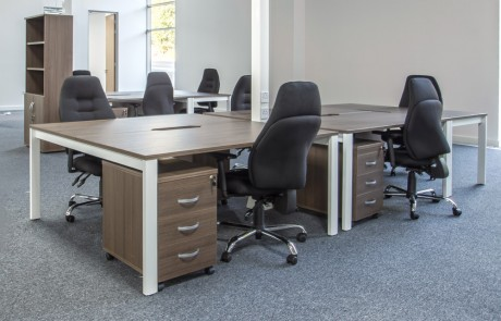 Moduslink-Office-Layout-Switch-Back-to-Back-Walnut-Finish-Desk-and-Pedestal-with-Kito-High-Storage-System