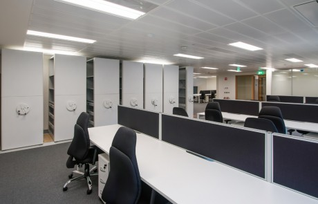Apex-Office-Bisley-Inner-Space-Storage-Systems-with-White-Desks-and-Blue-Office-Chairs
