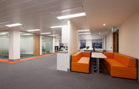 Apex Office Layout Orange Soft Seating with White Meeting Table