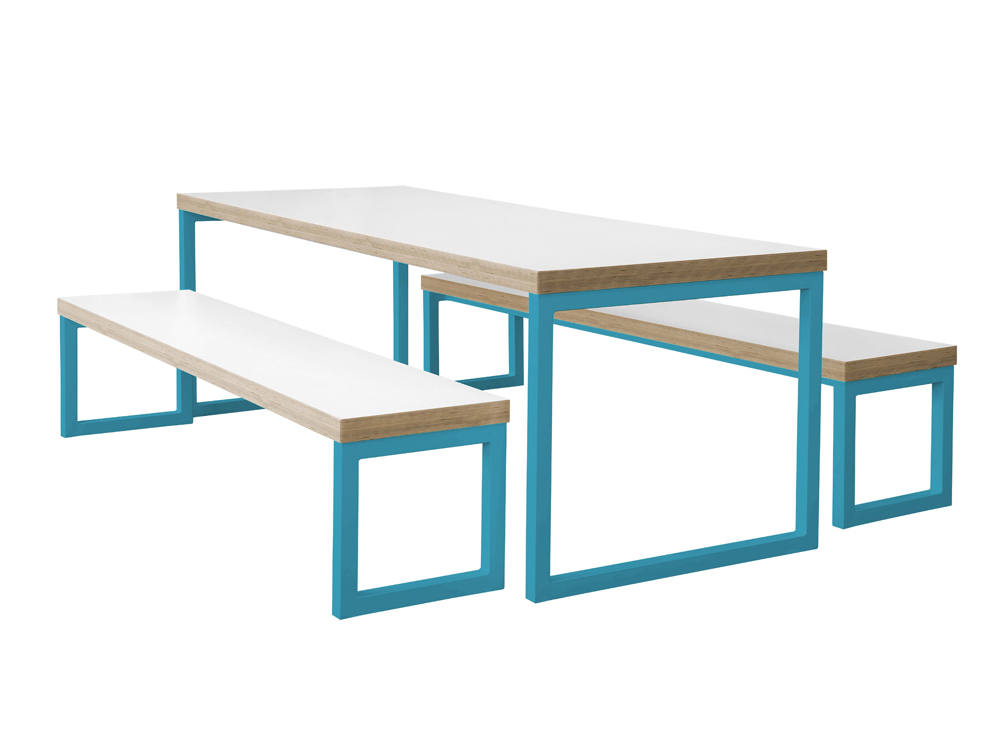 Frovi Block Steel Colour Bench and Table with White Table Top and Blue Legs
