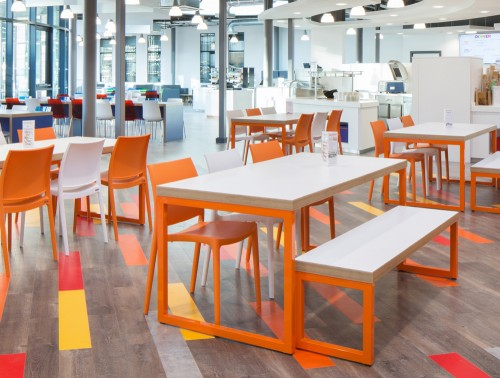 Frovi Block Steel Colour Canteen Table with White Finish and Orange Frame