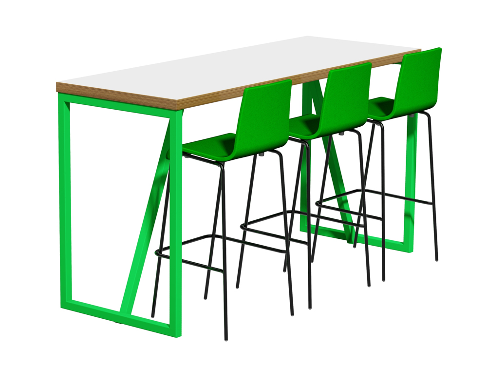 Frovi Block Steel Colour Poseur Height Table with White Finish and Green Chairs
