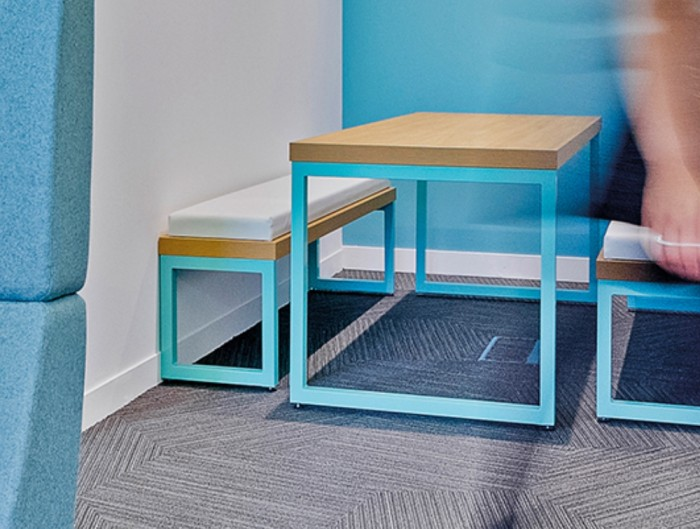 Frovi Block Steel Colour Table and Bench with Seat Pads and Wooden Table Top