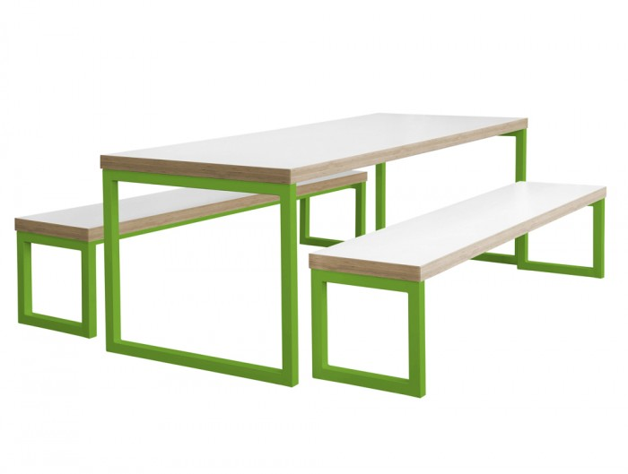 Frovi Block Steel Colour Table and Bench with White Finish and Green Frame