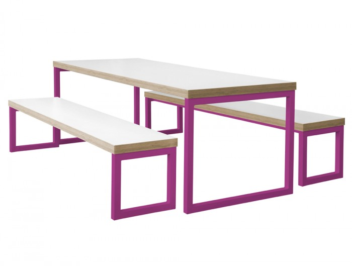 Frovi Block Steel Colour Table and Bench with White Finish and Pink Frame