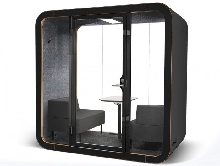 Framery Smart Office Acoustic Meeting Pod with Black Exterior and Chairs