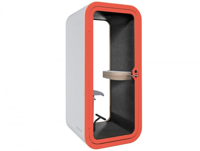 Framery Smart Office Acoustic Meeting Pod in White with Yellow Door Frame