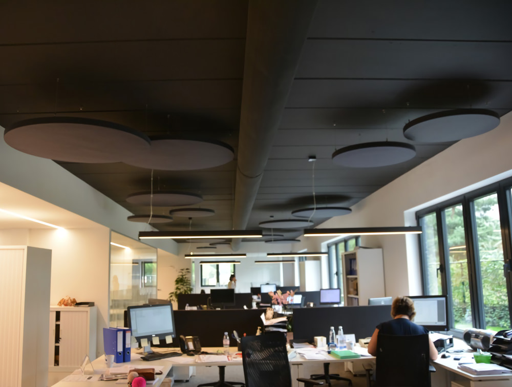 Soundtect Acoustic Circles Ceiling Panel for Open Office with Elegant Black Recycled Finish