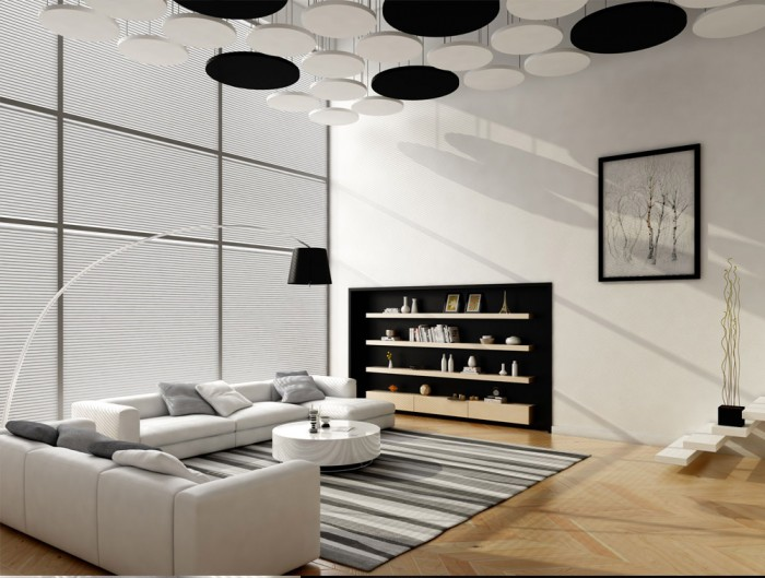 Soundtect Acoustic Circles Ceiling Panel for Reception Areas with Black and White Finish